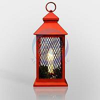 Декоративный фонарь со свечкой, красный корпус, размер 13.5х13.5х30,5 см, цвет ТЕПЛЫЙ БЕЛЫЙ, фото 1