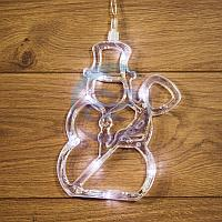 """Фигура светодиодная """"Снеговик"""" на присоске с подвесом, цвет белый, фото 1"""