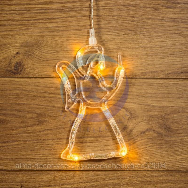 """Фигура светодиодная """"Ангелок"""" на присоске с подвесом, цвет ТЕПЛЫЙ БЕЛЫЙ"""