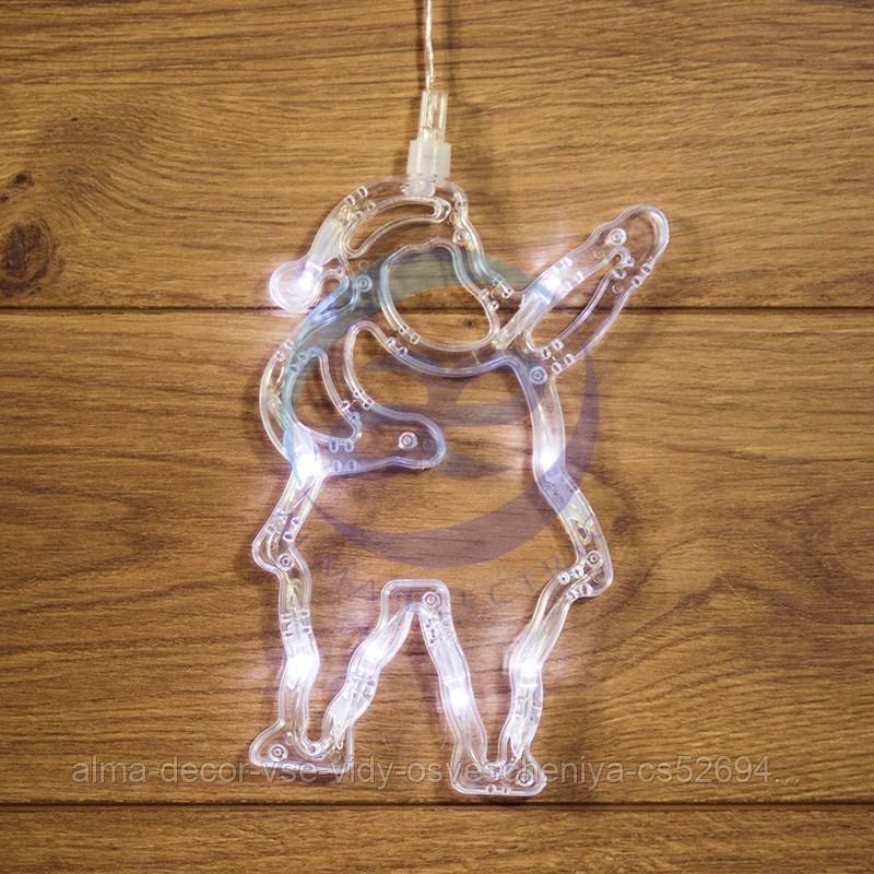 """Фигура светодиодная """"Санта Клаус"""" на присоске с подвесом, цвет белый"""