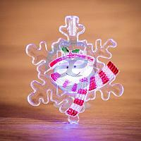 """Снеговик на снежинке"" RGB на присоске, фото 1"