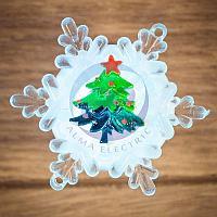 """""""Елочка на снежинке"""" RGB на присоске 9,5*9,5 см, фото 1"""