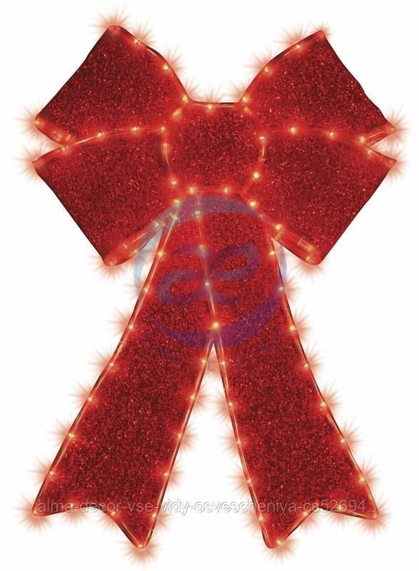 """Фигура """"Бантик"""" бархатная, с постоянным свечением, размеры 75*65 см (182 КРАСНЫХ светодиода)"""