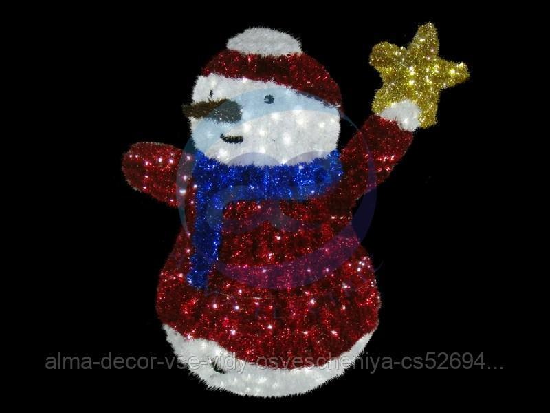 """Фигура """"Снеговик со звездой"""", LED подсветка выс. 150см (+транс. )"""