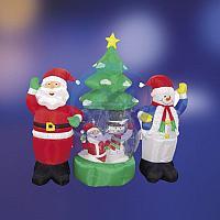 """3D фигура надувная """"Дед Мороз и Снеговик"""", диаметр шара 120 см, общий размер 210 см, с подсветкой, компрессор с адаптером 12В, IP 44 NEON-NIGHT"""
