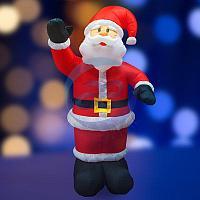 """3D фигура надувная """"Дед Мороз приветствует"""", размер 240 см, внутренняя подсветка 5 ламп, компрессор с адаптером 12В, IP 44 NEON-NIGHT"""