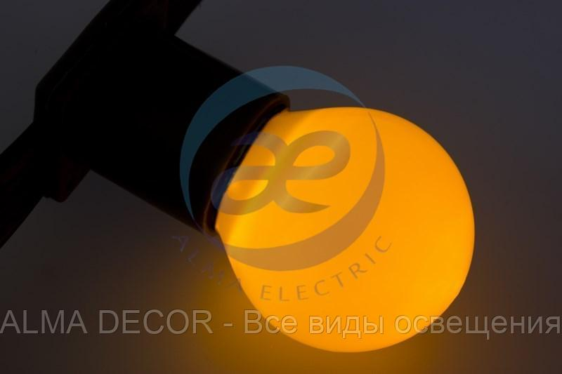 Лампа шар e27 3 LED Ø45мм - желтая