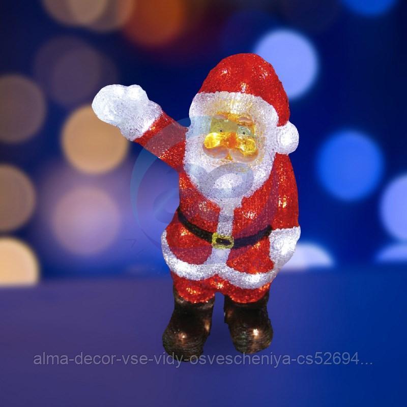 """Акриловая светодиодная фигура """"Санта Клаус приветствует"""" 30 см, 40 светодиодов, IP44 понижающий трансформатор"""