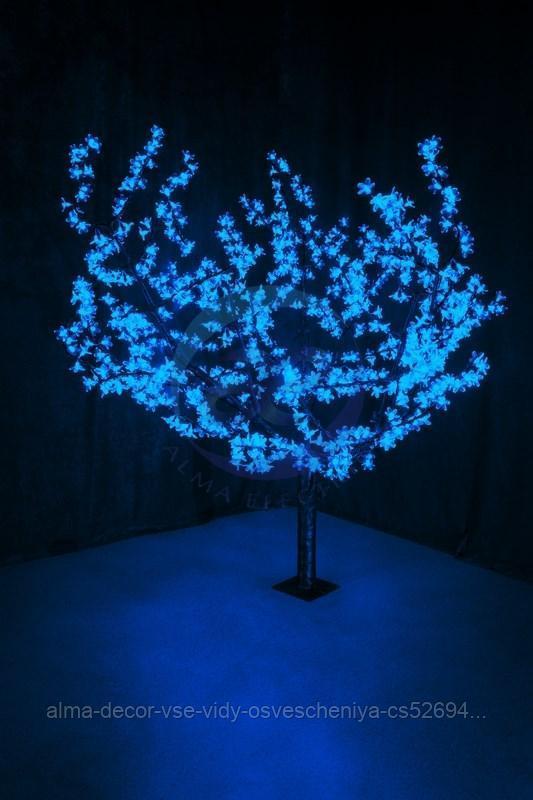 """Светодиодное дерево """"Сакура"""", высота 1,5м, диаметр кроны 1,8м, синие светодиоды, IP 54, понижающий"""