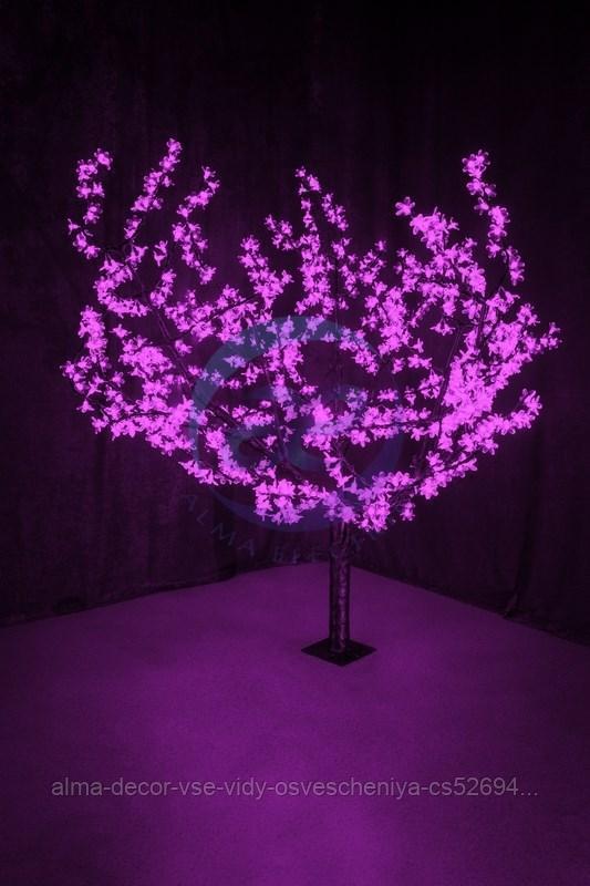 """Светодиодное дерево """"Сакура"""", высота 1,5м, диаметр кроны 1,8м, фиолетовые светодиоды, IP 54, понижающий"""