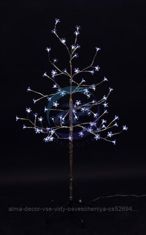 """Дерево комнатное """"Сакура"""", ствол и ветки фольга, высота 1.2 метра, 80 светодиодов белого цвета, трансформатор"""