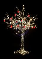 """Светодиодное дерево """"Яблоня"""", высота 1.5м, 10 красных яблок, ТЕПЛЫЙ БЕЛЫЙ светодиоды, IP 54, понижающий трансформатор в комплекте, NEON-NIGHT"""