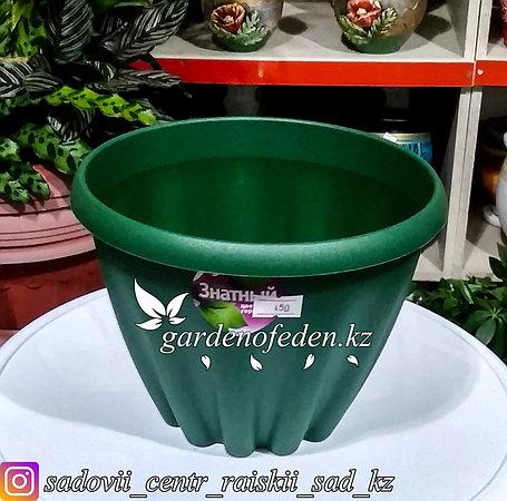 """Пластиковый горшок """"Знатный"""" для цветов. Объем: 2л. Цвет: Темно-зеленый., фото 2"""