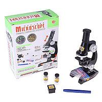 Микроскоп х450 (5стекол.2 баночки, бумага) 24*9*19 б/подсветки пластик.,стекло, металл