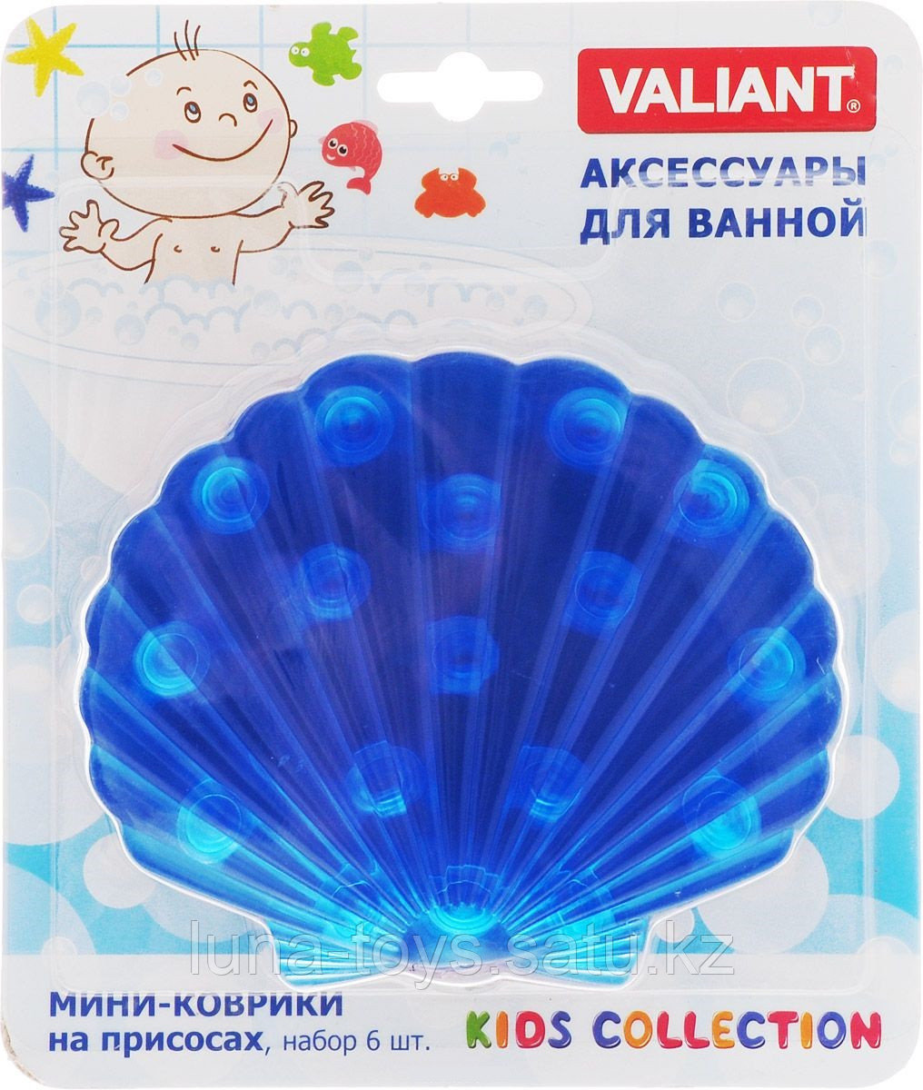Мини коврик для ванной комнаты РАКУШКА (на присосах), цвета микс: синий,розовый