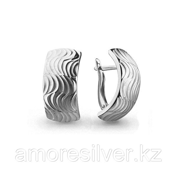Серьги Аквамарин серебро с родием, квадрат 31457
