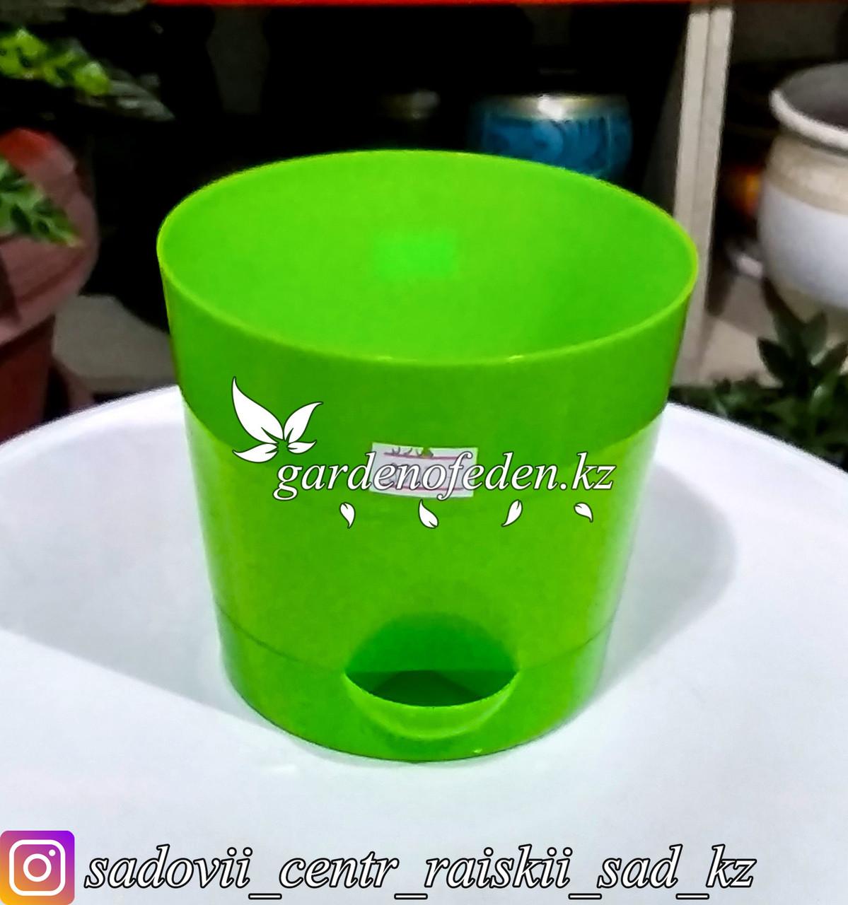 """Пластиковое кашпо с прикорневым поливом """"Ника"""". Цвет: Зеленый. Объем: 0.8л"""