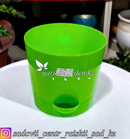 """Пластиковое кашпо с прикорневым поливом """"Ника"""". Цвет: Зеленый. Объем: 0.8л, фото 2"""