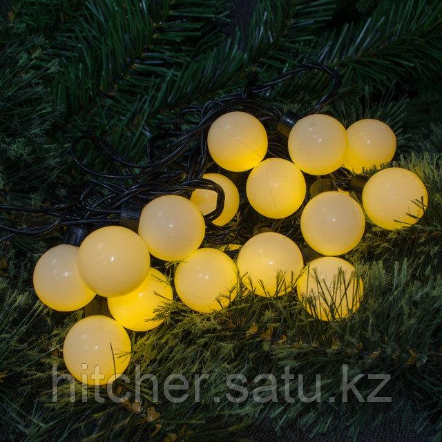 Светодиодная гирлянда - 5 метров, черный провод, не моргающий, каждый шарик 2,8 см (теплый свет)