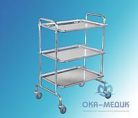 Столик мед. предметный СМп-1-«Ока-Медик» из нержавеющей стали (3 нерж. полки)