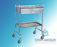 Столик мед. манипуляционный СМм-3-«Ока-Медик» из нержавеющей стали (2 нерж. полки, с выдвиж. металл. ящик)