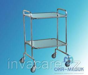 Столик мед. инструментальный СМи-5-«Ока-Медик» каркас из нержавеющей стали(стекло/стекло)