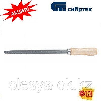 Напильник трехгранный, 250 мм, деревянная ручка. СИБРТЕХ