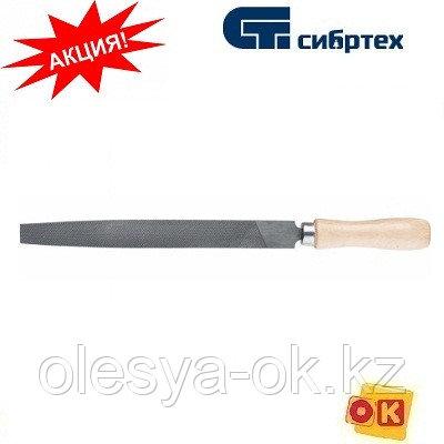 Напильник плоский, 250 мм, деревянная ручка. СИБРТЕХ