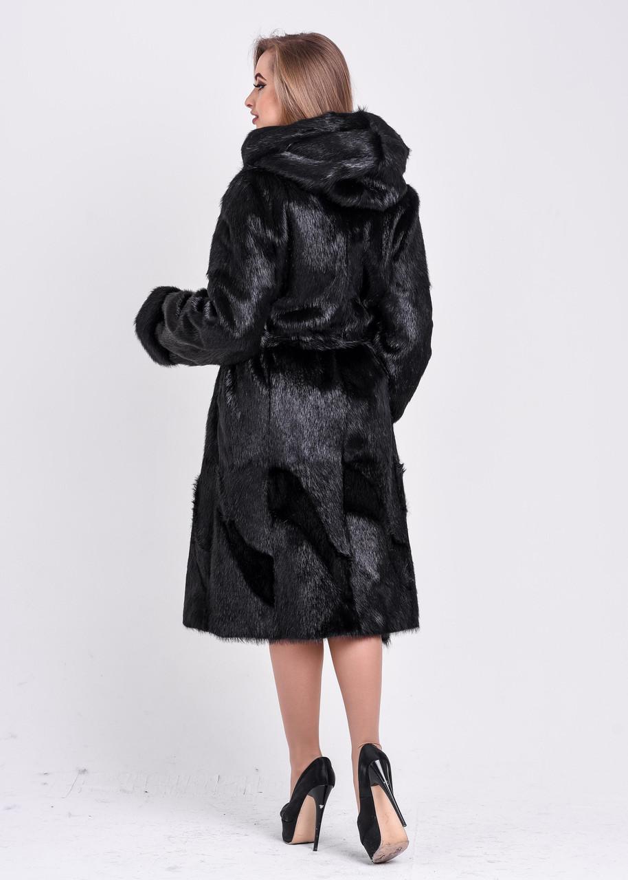 Чёрная женская шуба из стриженой нутрии - фото 3