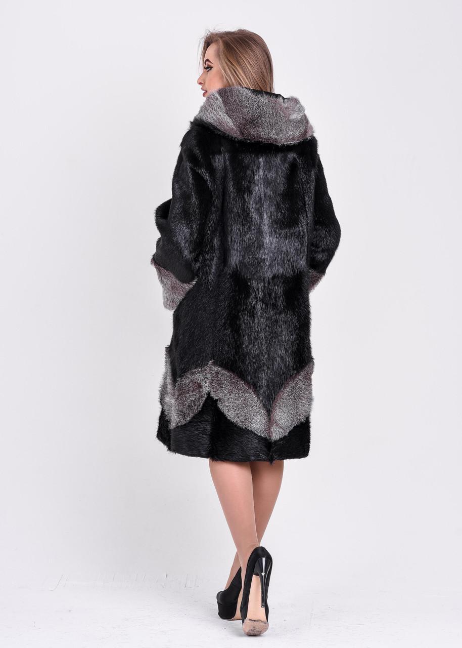 Женская шуба черного цвета с серебристым узором и манжетом   есть большие размеры - фото 3