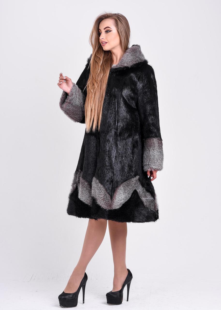 Женская шуба черного цвета с серебристым узором и манжетом   есть большие размеры - фото 1