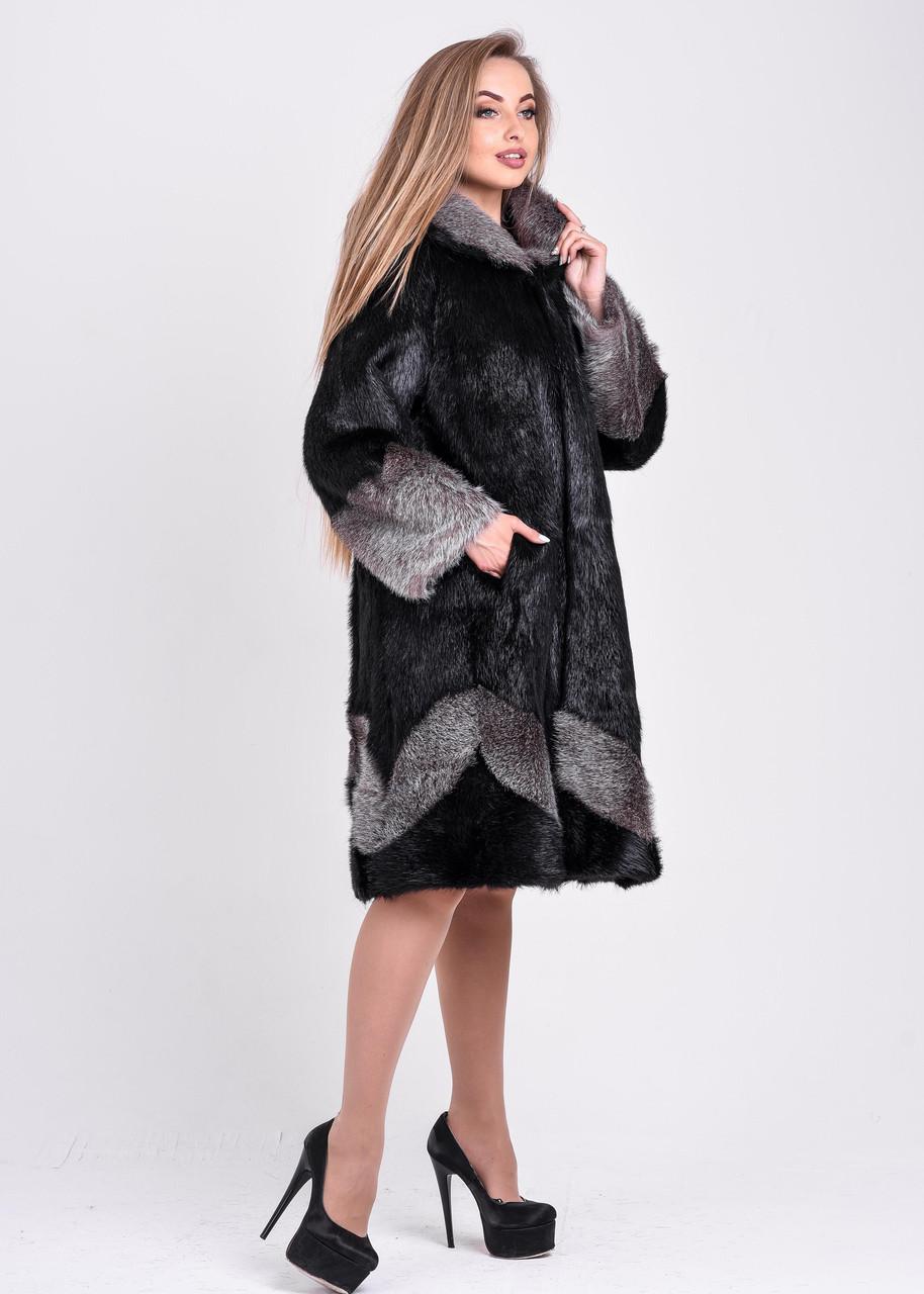 Женская шуба черного цвета с серебристым узором и манжетом   есть большие размеры - фото 7
