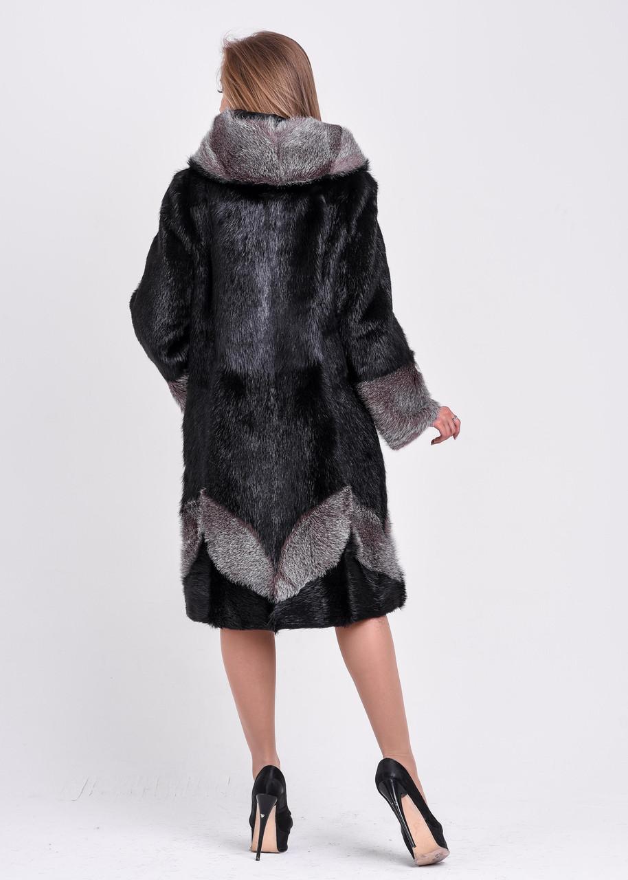 Женская шуба черного цвета с серебристым узором и манжетом   есть большие размеры - фото 6