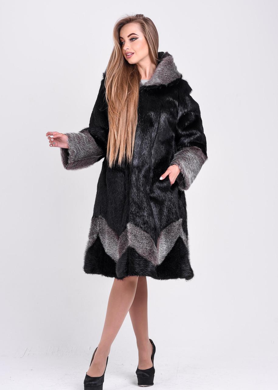 Женская шуба черного цвета с серебристым узором и манжетом   есть большие размеры - фото 2