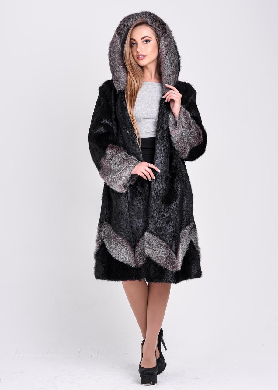 Женская шуба черного цвета с серебристым узором и манжетом   есть большие размеры - фото 4