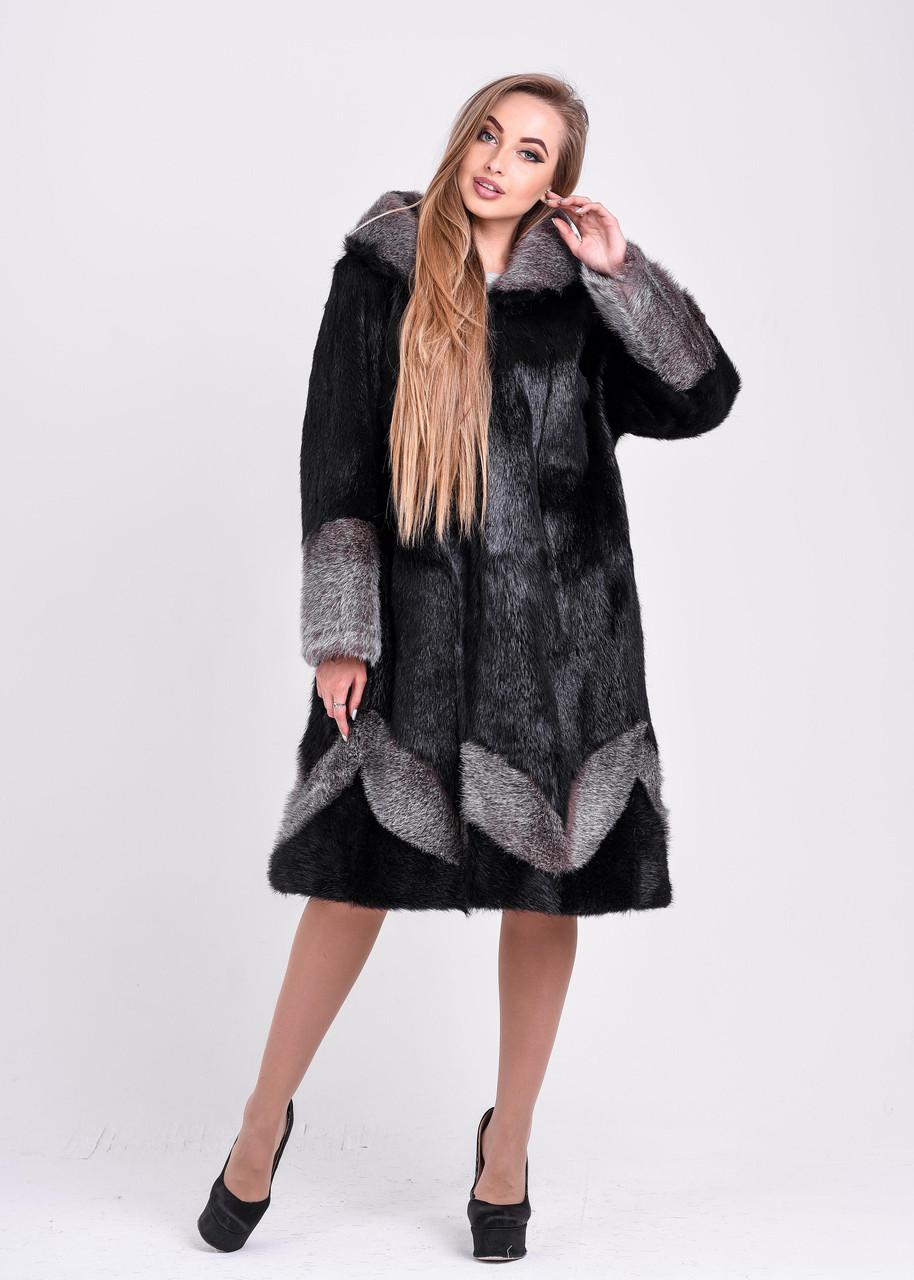 Женская шуба черного цвета с серебристым узором и манжетом   есть большие размеры - фото 5