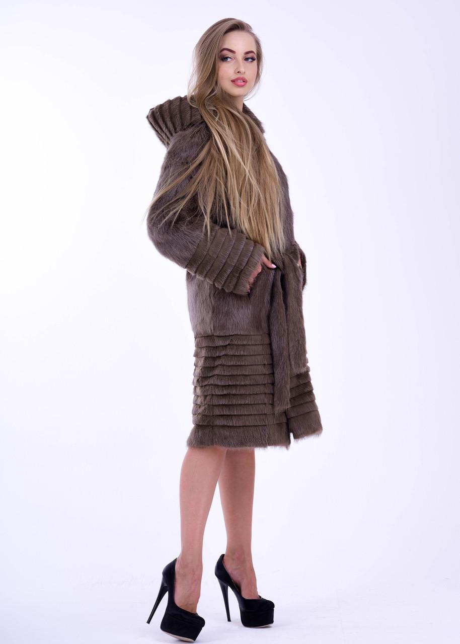 Светло коричневая зимняя шуба из натурального меха нутрии - фото 5