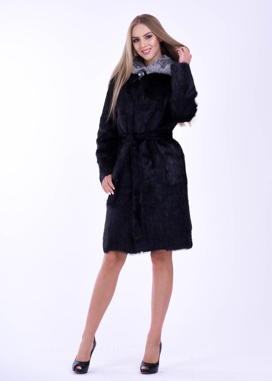 Черная женская шуба из нутрии с меховой опушкой на капюшоне - фото 5