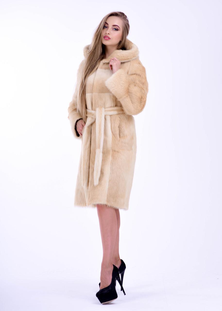 Зимняя женская шуба из меха нутрии нежно бежевого цвета Bg-Furs - фото 1
