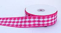 Лента репсовая (из плотной ткани), бело-розовая, 5 см