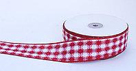 Лента репсовая (из плотной ткани), бело-красная, 5 см