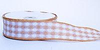 Лента репсовая (из плотной ткани), бело-бежевая, 5 см