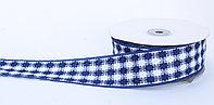 Лента репсовая (из плотной ткани), бело-синяя, 5 см