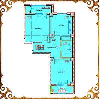 Двухкомнатная квартира 56.66 кв.м в жк Оазис
