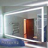 Зеркало с LED-подсветкой с пескоструйным рисунком, 1200(Ш)х800(В), фото 2