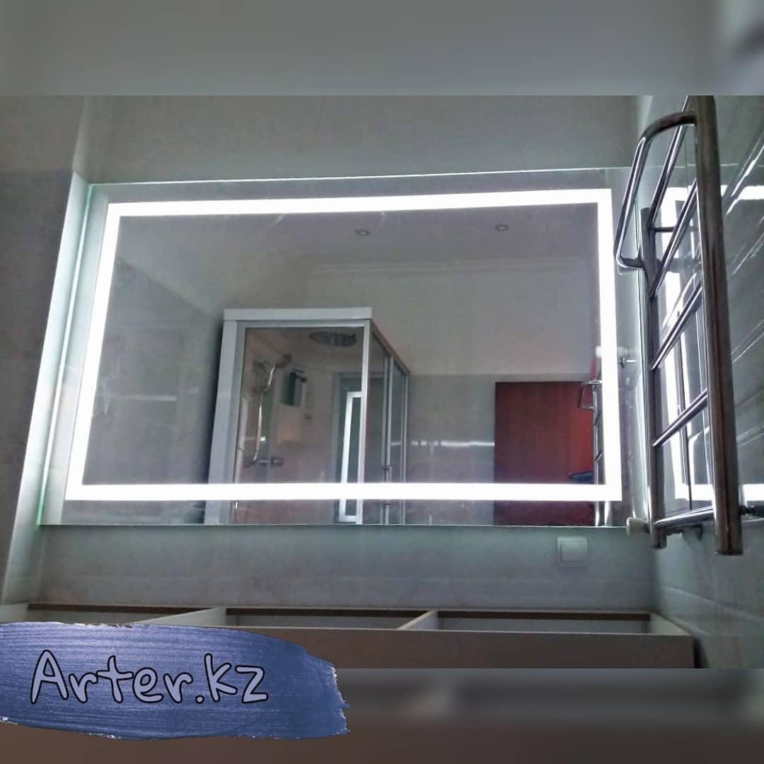 Зеркало с LED-подсветкой с пескоструйным рисунком, 1200(Ш)х800(В)