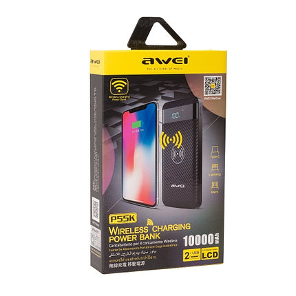 Батарея Power Bank Awei P55K 10000 mAh, фото 2