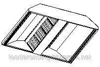 Островной приточно-вытяжной зонт МВО-0,5МС-03х1,3 из оцинкованной стали