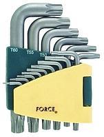 """Набор ключей торксT6H-T60H Г-образных с отверстием удлиненных 15пр.наблистере F-5151LT""""FORCE"""""""