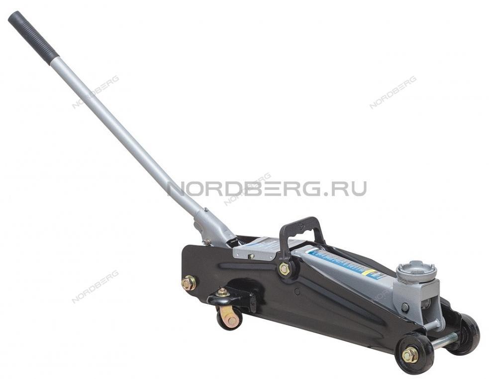 Домкрат подкатной для автолюбителя 2т в кейсе, Н=135-385 мм NORDBERG